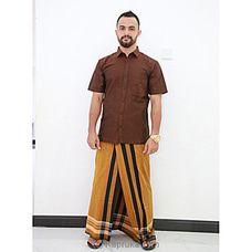 Cotton Weavers Men`s Handloom orange and black Striped Sarong -CS1151 By Cotton Weavers at Kapruka Online for specialGifts