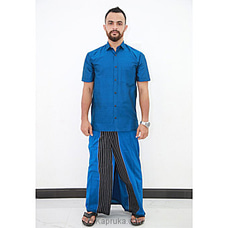 Cotton Weavers Men`s Handloom Sarong blue and black mixed-CS1143 By Cotton Weavers at Kapruka Online for specialGifts