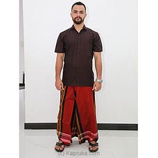 Cotton Weavers Men`s Handloom maron Sarong Red -CS1140 By Cotton Weavers at Kapruka Online for specialGifts