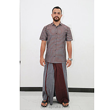 Cotton Weavers Men`s Handloom gray and maroon Sarong-CS1162 By Cotton Weavers at Kapruka Online for specialGifts