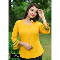 Linen Bell  sleeves blouse LSH090004YELLOW By Lady Holton at Kapruka Online for specialGifts