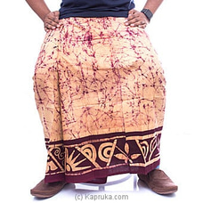 Batik Sarong - Peach With Maroon Border By NA at Kapruka Online for specialGifts