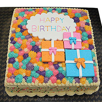 Happy Birthday Ribbon Cake-2lb(shaped CAKE) Online at Kapruka | Product# cakeFAB00214