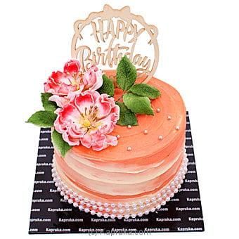 Happy Birthday Buds And Blooms Ribbon Cake Online at Kapruka | Product# cake00KA001092