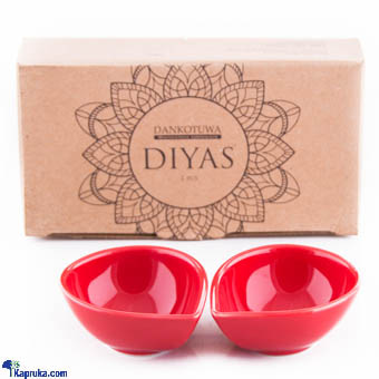 Single Colour Diya - Pack Of 2 (red) Online at Kapruka | Product# CBoffer00015