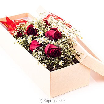 Half Dozen Red Roses In Recycled Paper Box Online at Kapruka | Product# flowers00T135