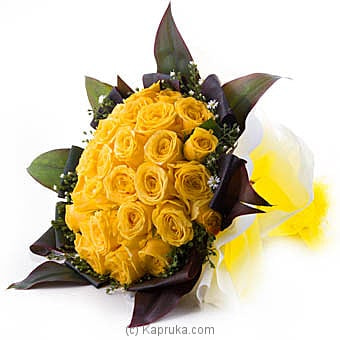 Blushing Extravagance Yellow Rose Flower Bouquet Online at Kapruka | Product# flowers00T857