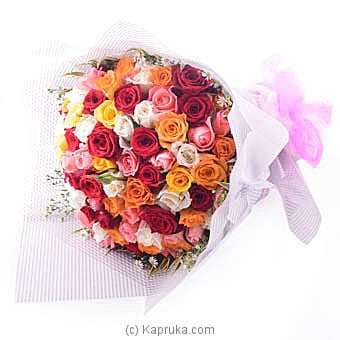 Multicolored 100 Roses Bouquet Online at Kapruka | Product# flowers00F35