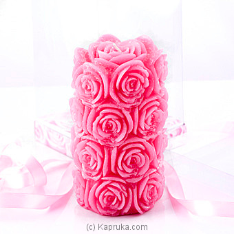 Rose Flower Scented Pink Cylinder Candle Online at Kapruka | Product# candles00115