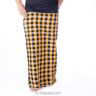 Black And Yellow Check Handloom Lungi With Blouse Materiel Online at Kapruka | Product# clothing0408