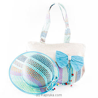 Summer Time Blue Bow Bag With Hat Online at Kapruka | Product# fashion00709