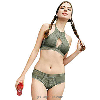 French High Neck Sexy Bra and Panty Set-Kaki Green Small Online at Kapruka | Product# clothing0512_TC1