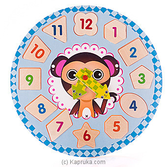 Kids Learning Wooden Puzzle Clock - Monkey Online at Kapruka | Product# childrenP0397