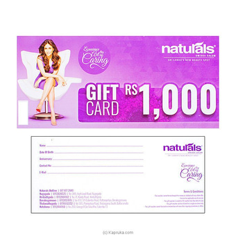Naturals Unisex Salon Rs.1000 Gift Card Online at Kapruka | Product# giftV00Z178