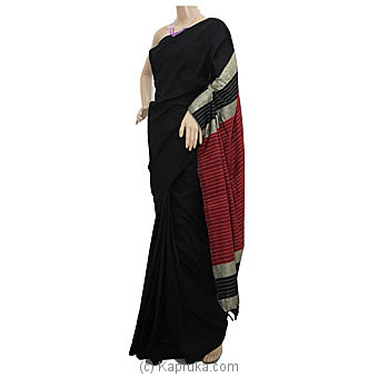 Black And Maroon Mix Cotton Handloom Saree Online at Kapruka | Product# clothing0723