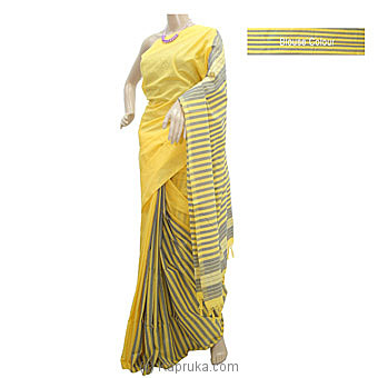 Gray Stripe Yellow Cotton Saree- C1320 Online at Kapruka | Product# clothing0876