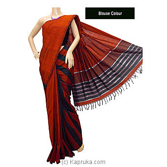 Red Mixed Cotton Handloom Saree- C1300 Online at Kapruka | Product# clothing01081