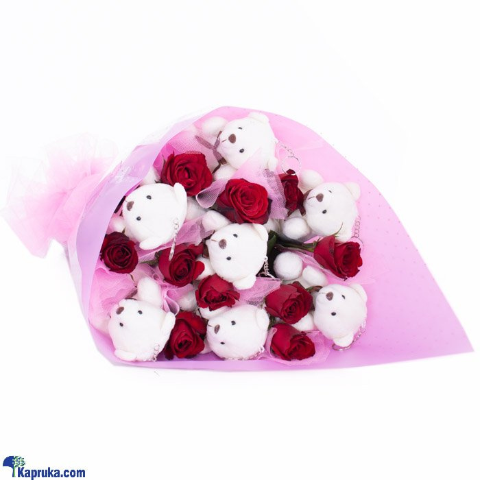 Teddy Bear Hugs For Her Bouquet Online at Kapruka | Product# flowers00T524