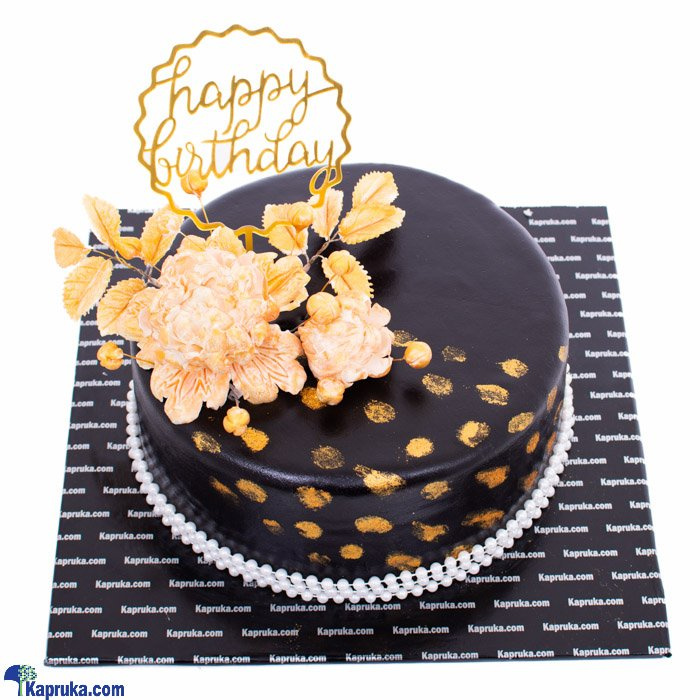 Happy Birthday Golden Touch Ribbon Cake Online at Kapruka | Product# cake00KA001098