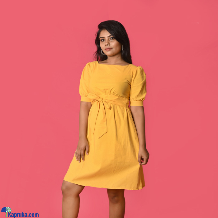 Yellow Linen Backless Short Dress- DF- F- 0046 Online at Kapruka | Product# clothing01237
