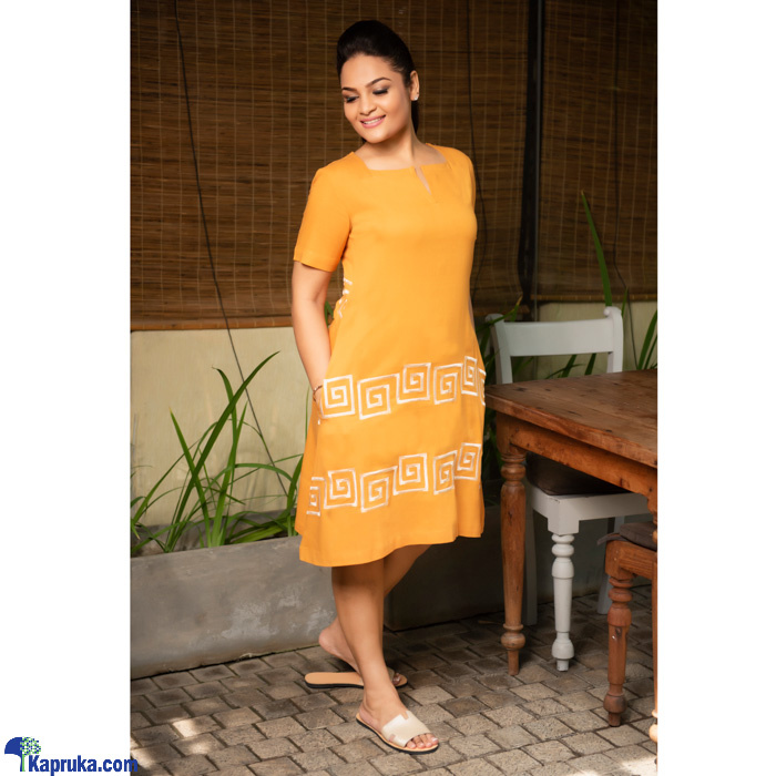 Linen A- Line Dress With EMB - 3020937 - Yellow Online at Kapruka | Product# clothing01798