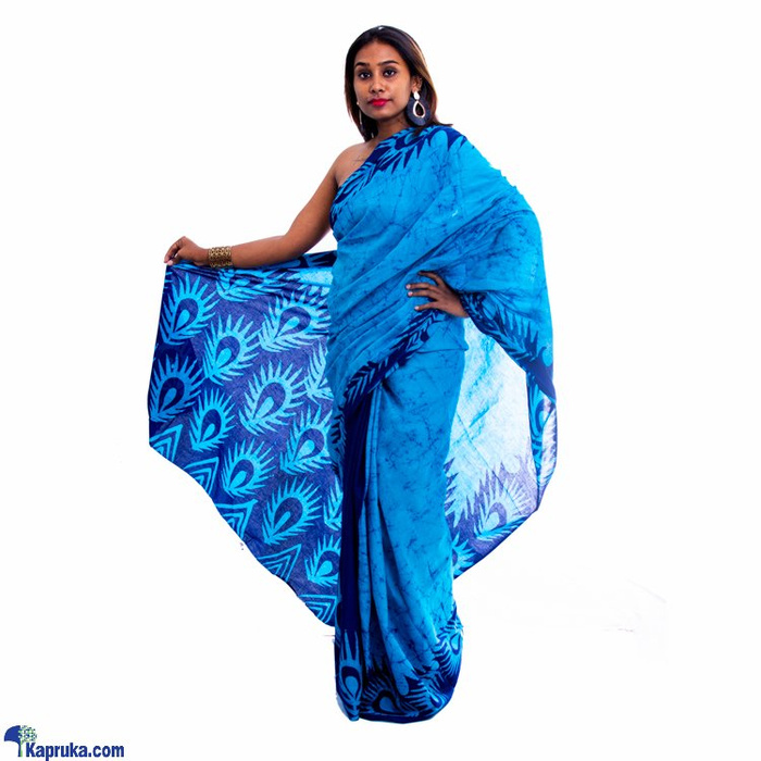 Dark Blue And Light Blue Mixed Batik Saree Online at Kapruka | Product# clothing01821