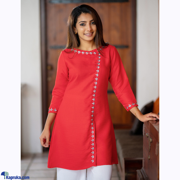 DREAM STYLE EMBROIDED KURTI WITH PANT (FULL SET) - 0421RED Online at Kapruka | Product# clothing01840