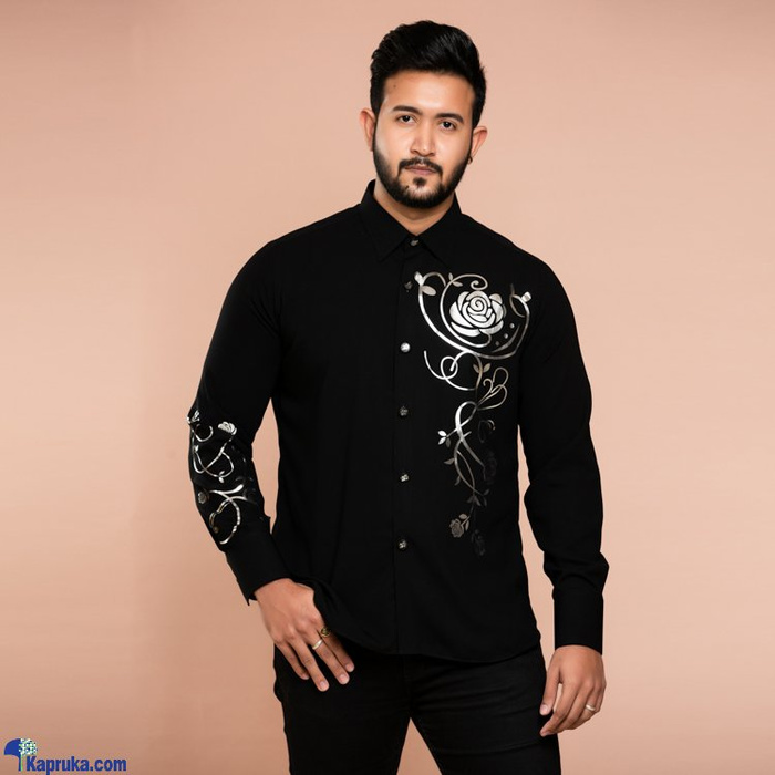 Classy Occassional Wear Gents Shirt With Silver Foil Print - CH 023 Online at Kapruka | Product# clothing01930