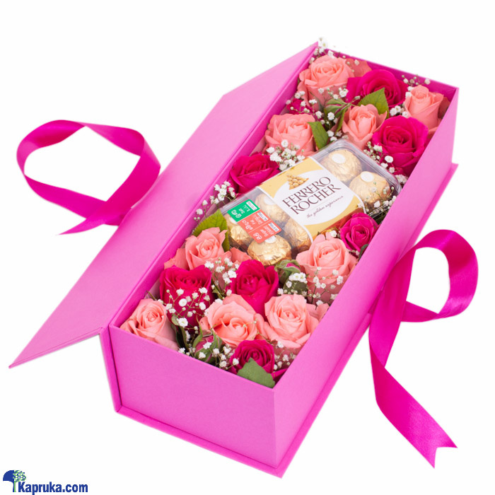 Choco Rose Reverie- Mix Of Pink Roses, 16 Piece Ferrero Rocher Chocolates Online at Kapruka | Product# flowers00T1200