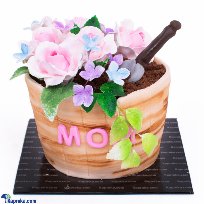 Mama's Rose Pot Mother's Day Ribbon Cake Online at Kapruka | Product# cake00KA001174