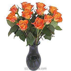 A Dozen Orange Roses Giftwrap at Kapruka Online for intgift