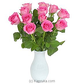 A Dozen Pink Roses Giftwrap at Kapruka Online for intgift
