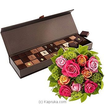 Chocol@ Happy Birthday & Roses Bouquet at Kapruka Online for intgift