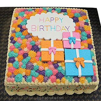 Happy Birthday  Ribbon Cake-2LB(SHAPED CAKE)at Kapruka Online forcakes