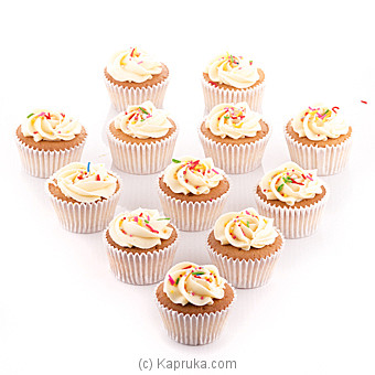 Vanila Swril Cupcakes With Sprinkles  - 12 Peice Pack at Kapruka Online for cakes