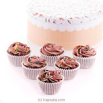 Chocolate Swril Cupcakes With Sprinkles 6 Piece Gift Box at Kapruka Online for cakes
