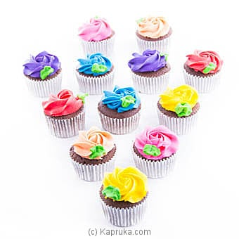 Garden Of Rainbow Cupcakes - 12 Piece Online at Kapruka | Product# cake00KA00819