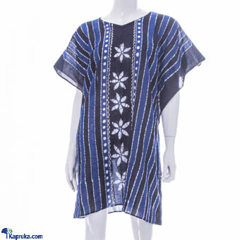 Ladies Poncho Batik Top In Voile - Blue at Kapruka Online for cross_border