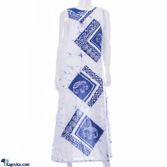 Ladies Sleeveless Frock Voile Double Lining - White & Blue at Kapruka Online for cross_border