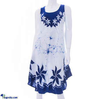 Ladies Sleeveless Frock In Viscose - White & Blue at Kapruka Online for cross_border