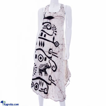 Ladies Sleeveless Frock In Viscose - Black & White at Kapruka Online for cross_border