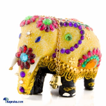 Wooden Elephant With Beeds & Sequins - Yellow at Kapruka Online for cross_border