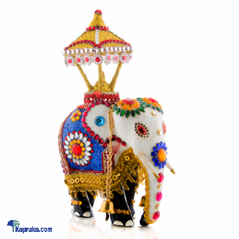 Wooden Casket White Elephant Decorated With Beeds at Kapruka Online for cross_border