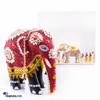 Wooden Decorated Elephant In Red - 4 Inch at Kapruka Online for cross_border
