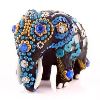 Wooden Elephant Mirror Craft (Black) at Kapruka Online for cross_border