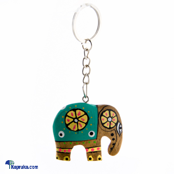 Wooden Painted Elephant Key Tag - Green at Kapruka Online for cross_border