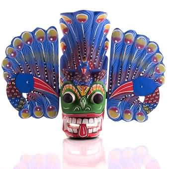 Traditional Wooden Mask Mayura (peacock) - 10 Inch Online at Kapruka | Product# cbid0131
