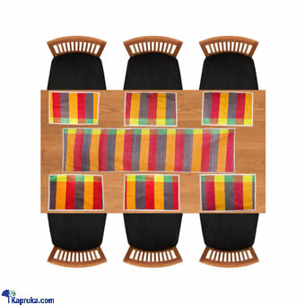 Weaves Handloom Table Runner With 6 Table Mats - Red Online at Kapruka | Product# CBhome00059