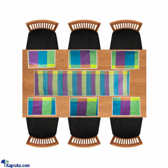 Weaves Handloom Table Runner With 6 Table Mats - Blue Online at Kapruka | Product# CBhome00060