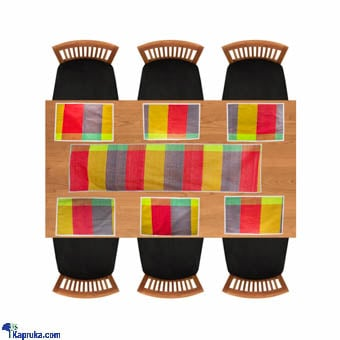 Handloom Fabric Table Runner With 6 Table Mats Online at Kapruka | Product# CBhome00061